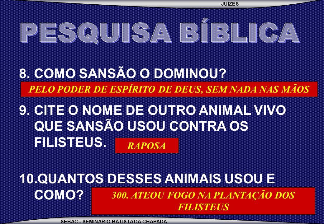 JUÍZES SEBAC - SEMINÁRIO BATISTA DA CHAPADA 8.COMO SANSÃO O DOMINOU? 9.CITE O NOME DE OUTRO ANIMAL VIVO QUE SANSÃO USOU CONTRA OS FILISTEUS. 10.QUANTO
