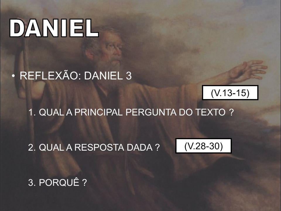 REFLEXÃO: DANIEL 3 1.QUAL A PRINCIPAL PERGUNTA DO TEXTO ? 2.QUAL A RESPOSTA DADA ? 3.PORQUÊ ? (V.28-30) (V.13-15)