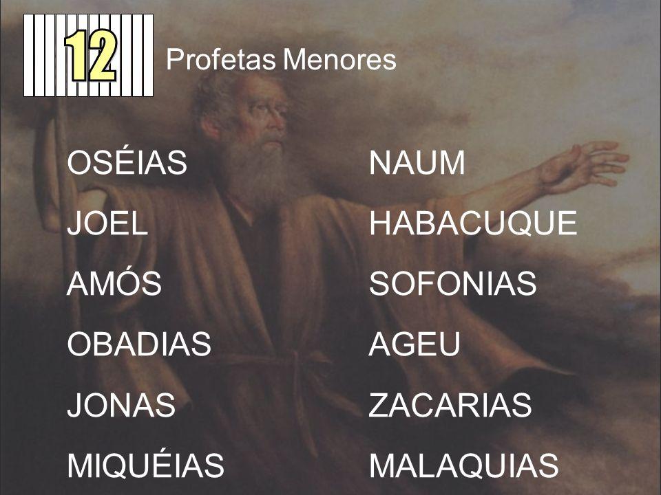 Profetas Menores OSÉIAS JOEL AMÓS OBADIAS JONAS MIQUÉIAS NAUM HABACUQUE SOFONIAS AGEU ZACARIAS MALAQUIAS