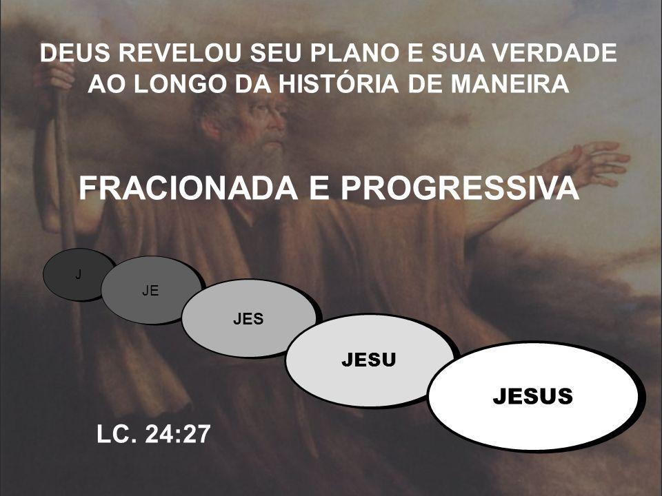DEUS REVELOU SEU PLANO E SUA VERDADE AO LONGO DA HISTÓRIA DE MANEIRA FRACIONADA E PROGRESSIVA LC. 24:27 J J JE JES JESU JESUS