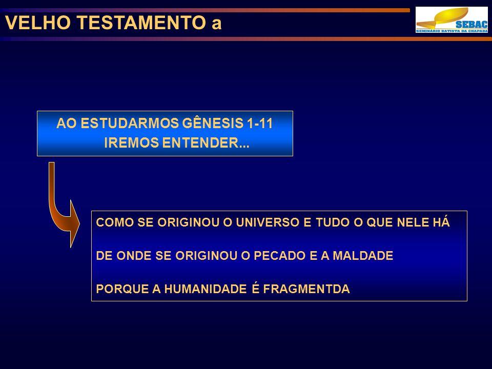 VELHO TESTAMENTO a AO ESTUDARMOS GÊNESIS 1-11 IREMOS ENTENDER...