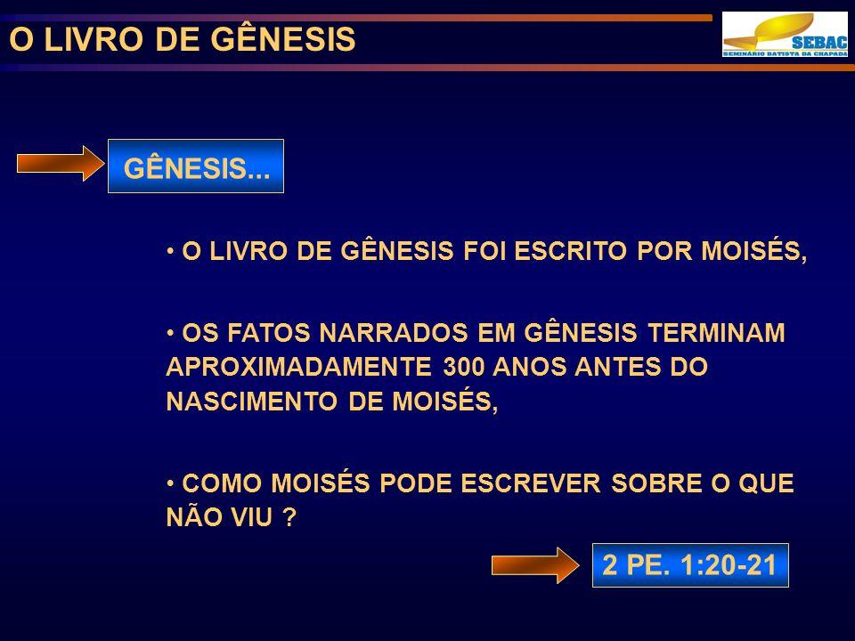 O LIVRO DE GÊNESIS GÊNESIS...