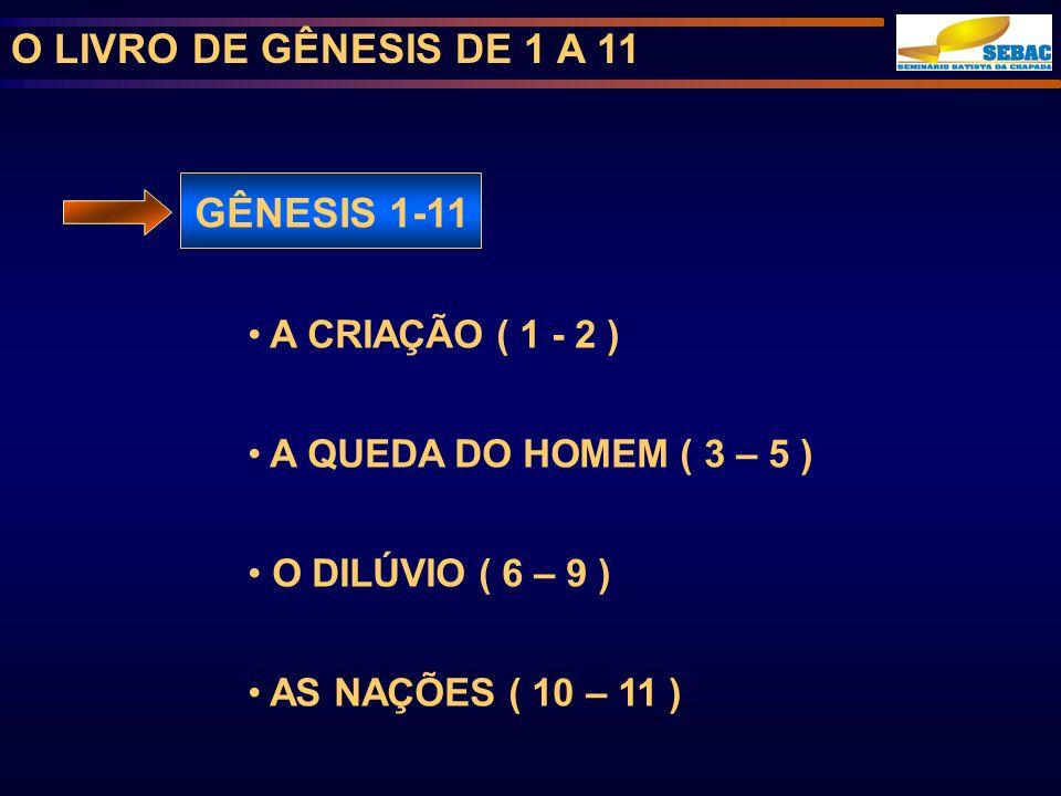 O LIVRO DE GÊNESIS DE 1 A 11 GÊNESIS 1-11 A CRIAÇÃO ( 1 - 2 ) A QUEDA DO HOMEM ( 3 – 5 ) O DILÚVIO ( 6 – 9 ) AS NAÇÕES ( 10 – 11 )