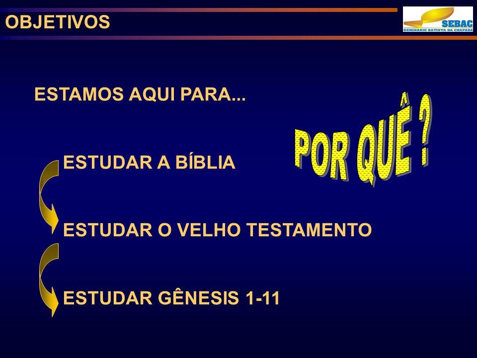 OBJETIVOS ESTAMOS AQUI PARA... ESTUDAR A BÍBLIA ESTUDAR O VELHO TESTAMENTO ESTUDAR GÊNESIS 1-11