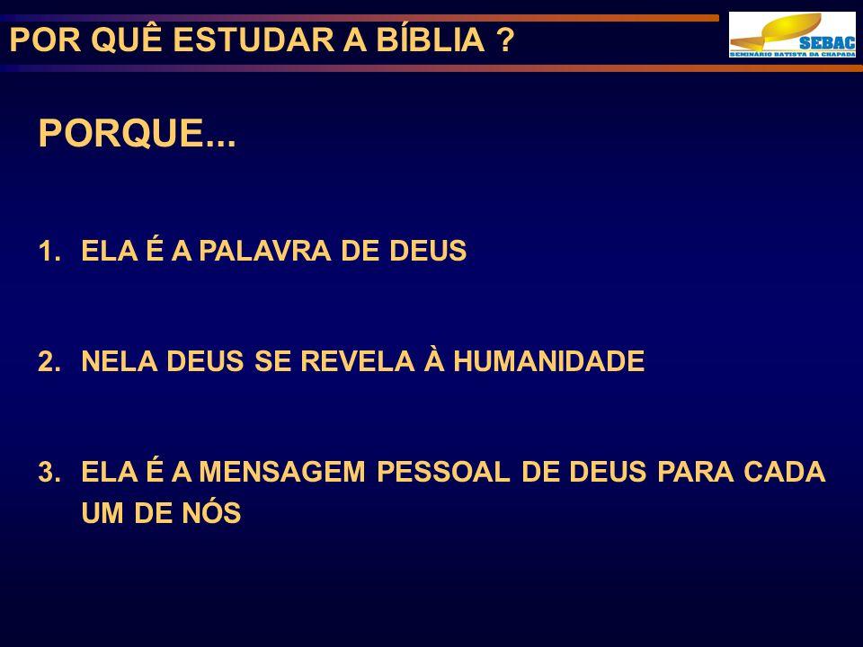 POR QUÊ ESTUDAR A BÍBLIA .PORQUE...