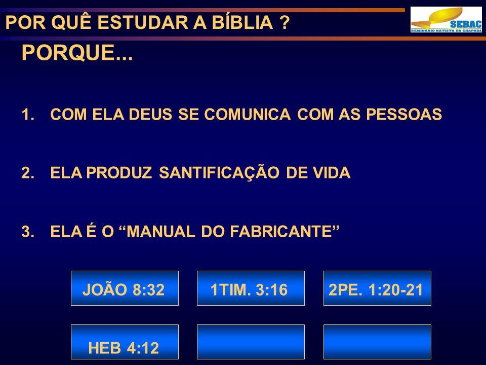 POR QUÊ ESTUDAR A BÍBLIA .PORQUE... 1. COM ELA DEUS SE COMUNICA COM AS PESSOAS 2.