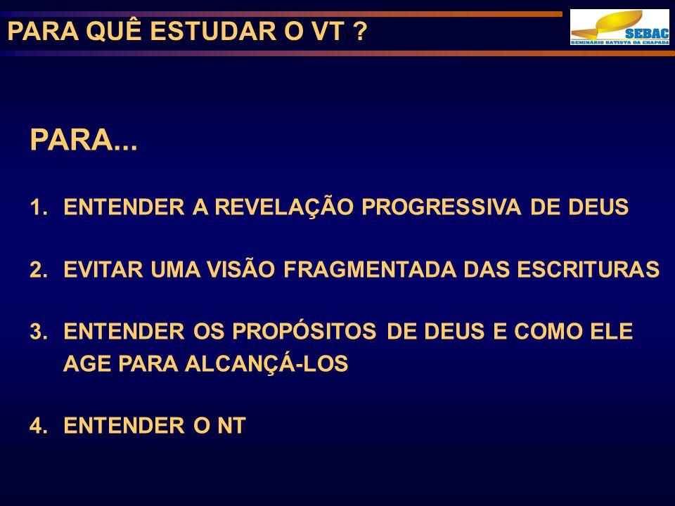 PARA QUÊ ESTUDAR O VT .