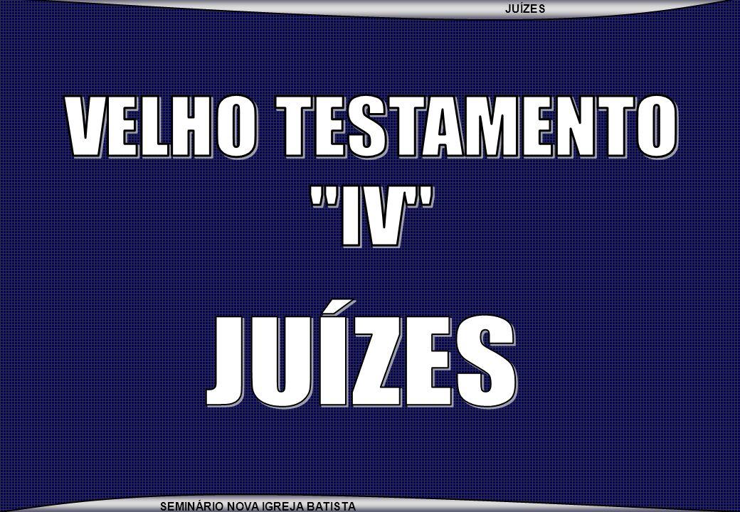 JUÍZES SEMINÁRIO NOVA IGREJA BATISTA 1)3:7-11 2)3:12-30 3)4:1-5:31 4)6:1-8:28 5)10:6-12:7 6)13:1-16:31 1)3:31 2)10:1-2 3)10:3-5 4)12:8-10 5)12:11-12 6)12:13-15 MAIORES MENORES