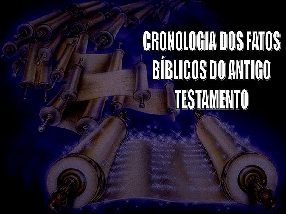 CRONOLOGIA DO VELHO TESTAMENTO A pré-existência de CristoJo 1:1 Da Criação ao Dilúvio CriaçãoGn 1:1 Satanás expulso do céuIs 14:12-17 Seis dias da criaçãoGn 1:3-26 Jardim do ÉdemGn 2:8-17 Queda de Adão e EvaGn 3:1-7 Expulsão do ÉdemGn 3:21-24 Caim mata AbelGn 4 Nascimento de NoéGn 5:28-29 O DilúvioGn 7:10:24