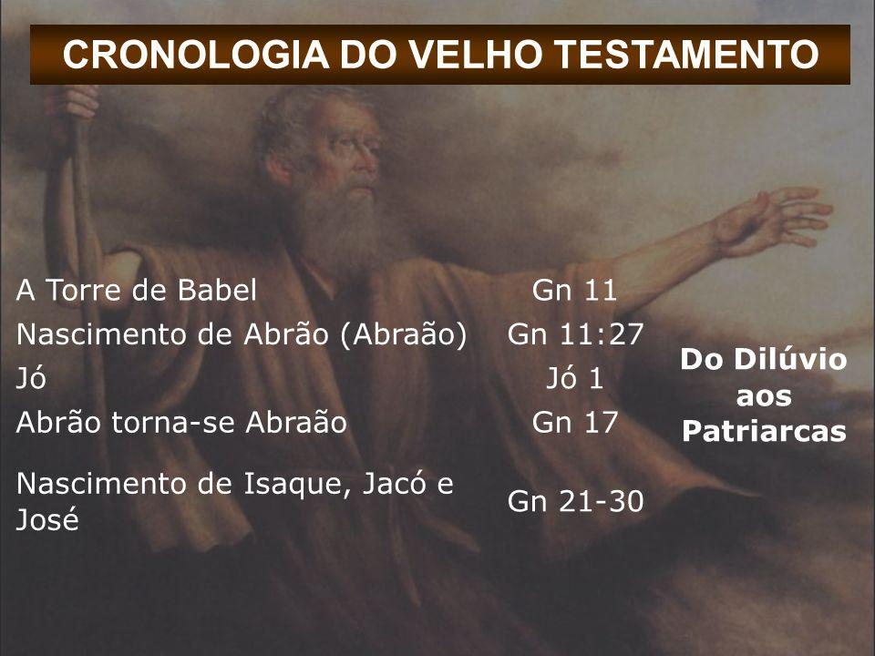 CRONOLOGIA DO VELHO TESTAMENTO A Torre de BabelGn 11 Do Dilúvio aos Patriarcas Nascimento de Abrão (Abraão)Gn 11:27 JóJó 1 Abrão torna-se AbraãoGn 17