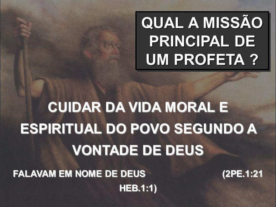 QUAL A MISSÃO PRINCIPAL DE UM PROFETA ? CUIDAR DA VIDA MORAL E ESPIRITUAL DO POVO SEGUNDO A VONTADE DE DEUS FALAVAM EM NOME DE DEUS (2PE.1:21 HEB.1:1)