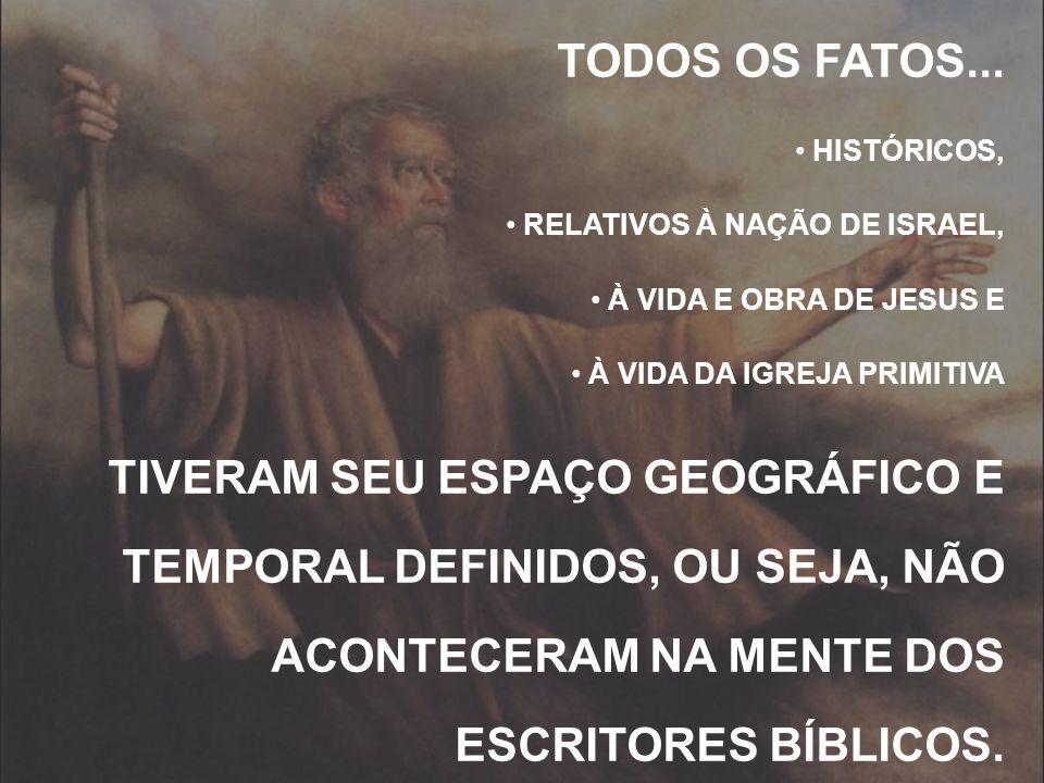 TODOS OS FATOS... HISTÓRICOS, RELATIVOS À NAÇÃO DE ISRAEL, À VIDA E OBRA DE JESUS E À VIDA DA IGREJA PRIMITIVA TIVERAM SEU ESPAÇO GEOGRÁFICO E TEMPORA