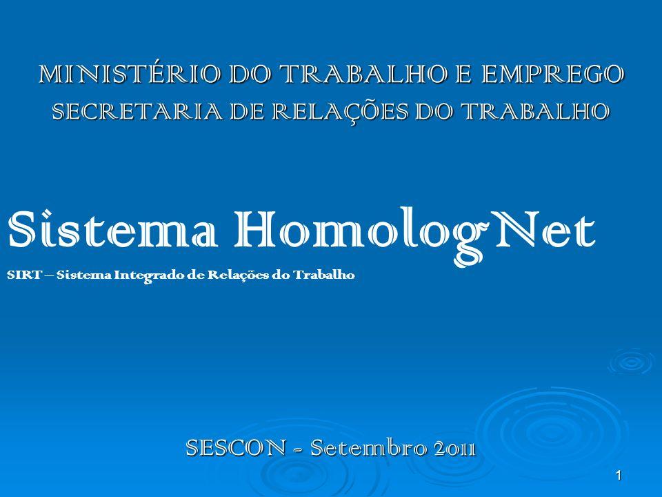1 MINISTÉRIO DO TRABALHO E EMPREGO SECRETARIA DE RELAÇÕES DO TRABALHO SESCON - Setembro 2011 Sistema HomologNet SIRT – Sistema Integrado de Relações d
