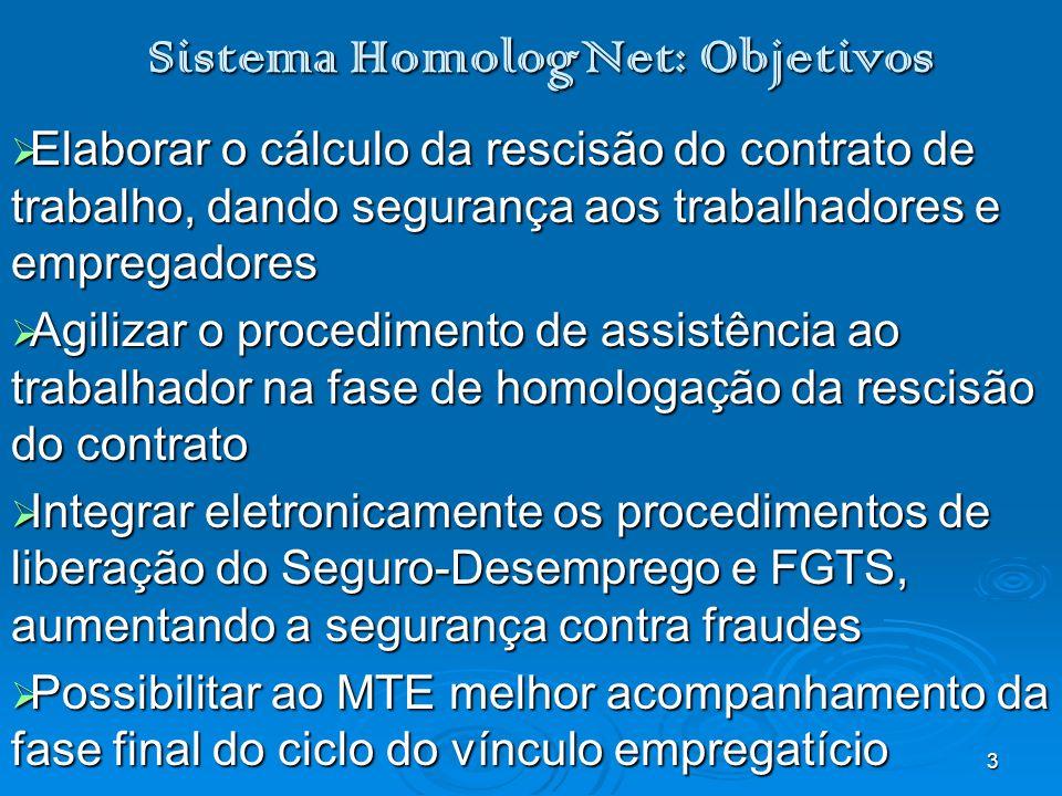 3 Sistema HomologNet: Objetivos Elaborar o cálculo da rescisão do contrato de trabalho, dando segurança aos trabalhadores e empregadores Elaborar o cá