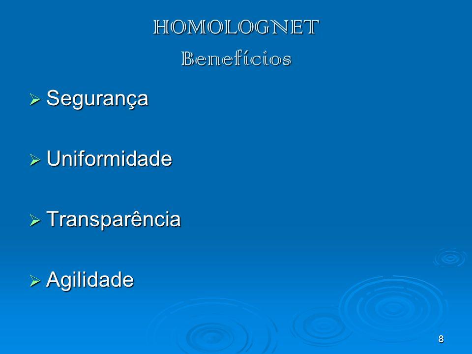8 HOMOLOGNET Benefícios Segurança Segurança Uniformidade Uniformidade Transparência Transparência Agilidade Agilidade