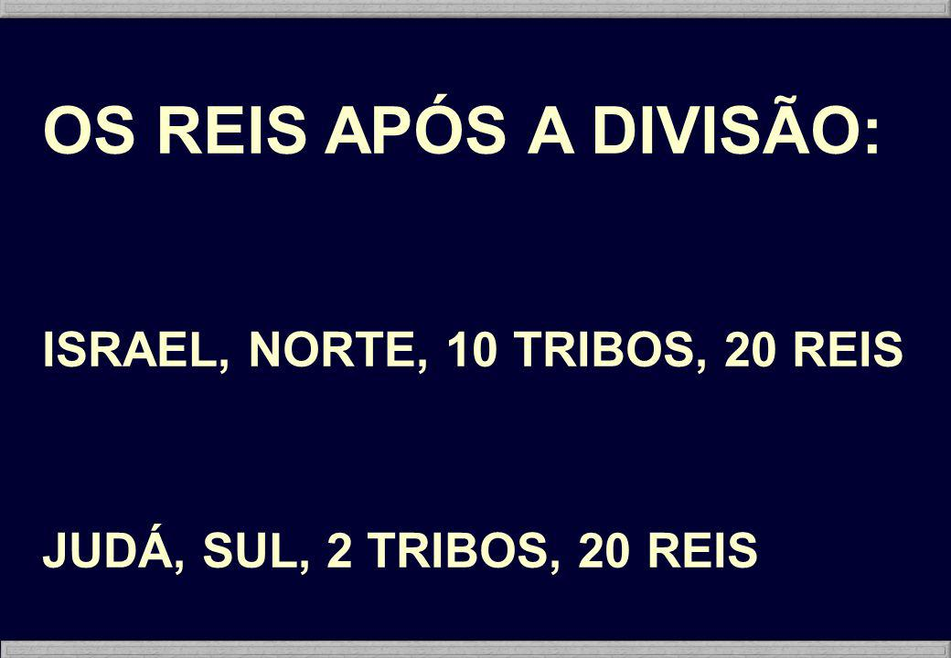 OS REIS APÓS A DIVISÃO: ISRAEL, NORTE, 10 TRIBOS, 20 REIS JUDÁ, SUL, 2 TRIBOS, 20 REIS