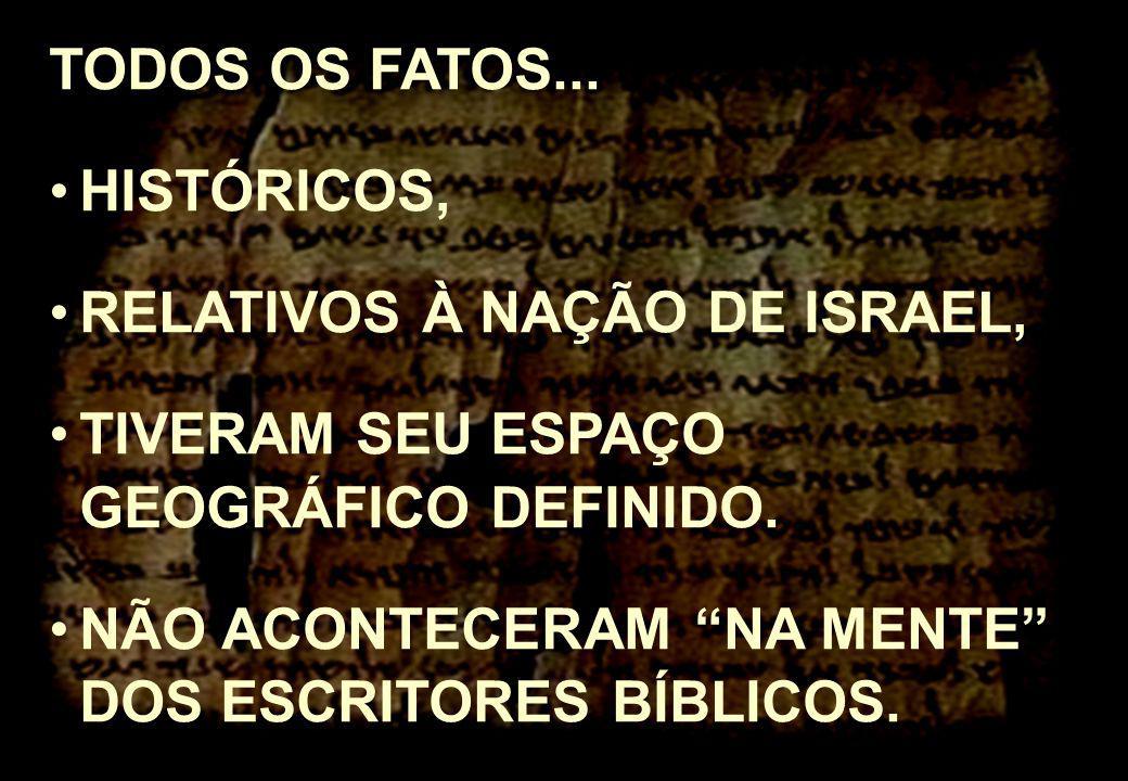 TODOS OS FATOS... HISTÓRICOS, RELATIVOS À NAÇÃO DE ISRAEL, TIVERAM SEU ESPAÇO GEOGRÁFICO DEFINIDO. NÃO ACONTECERAM NA MENTE DOS ESCRITORES BÍBLICOS.