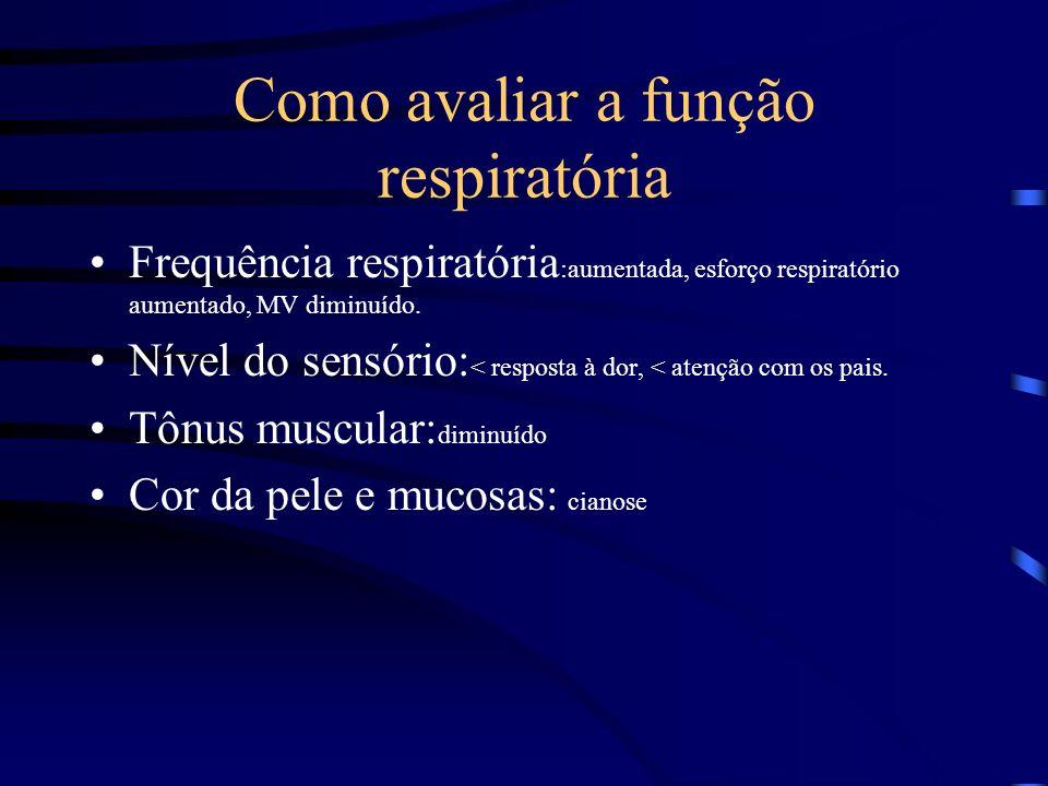 Como avaliar a função respiratória Frequência respiratória :aumentada, esforço respiratório aumentado, MV diminuído. Nível do sensório: < resposta à d