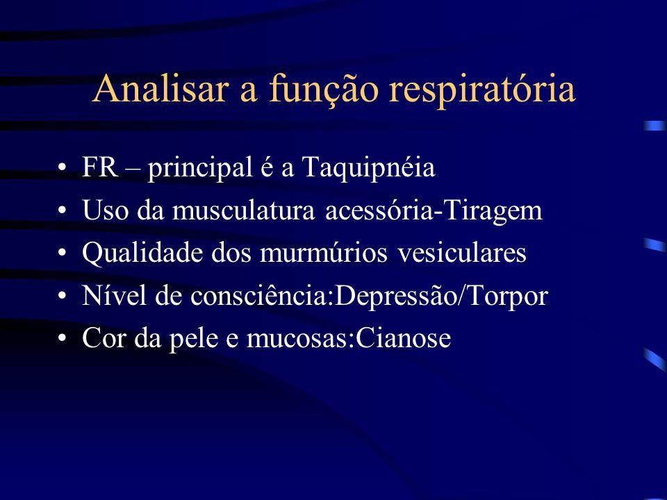 Analisar a função respiratória FR – principal é a Taquipnéia Uso da musculatura acessória-Tiragem Qualidade dos murmúrios vesiculares Nível de consciê
