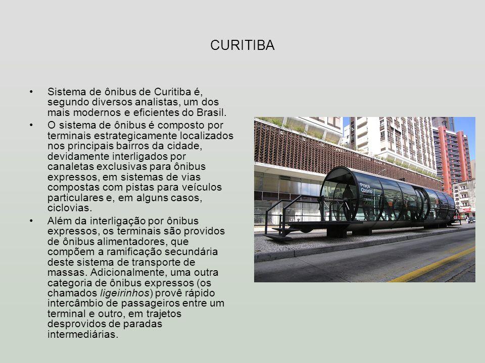 CURITIBA Sistema de ônibus de Curitiba é, segundo diversos analistas, um dos mais modernos e eficientes do Brasil. O sistema de ônibus é composto por