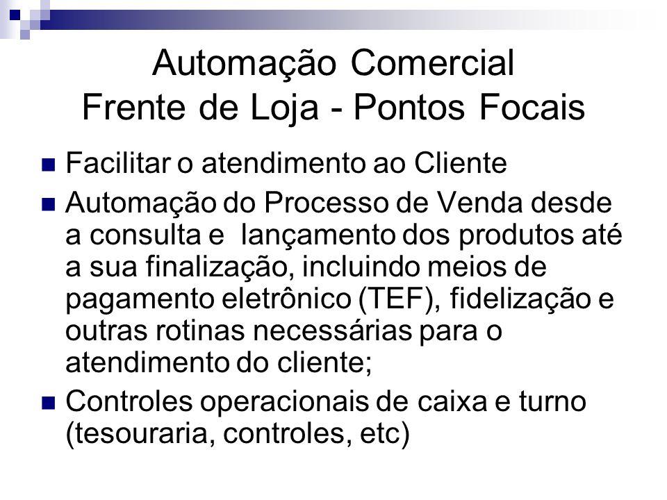 Automação Comercial Frente de Loja - Pontos Focais Facilitar o atendimento ao Cliente Automação do Processo de Venda desde a consulta e lançamento dos