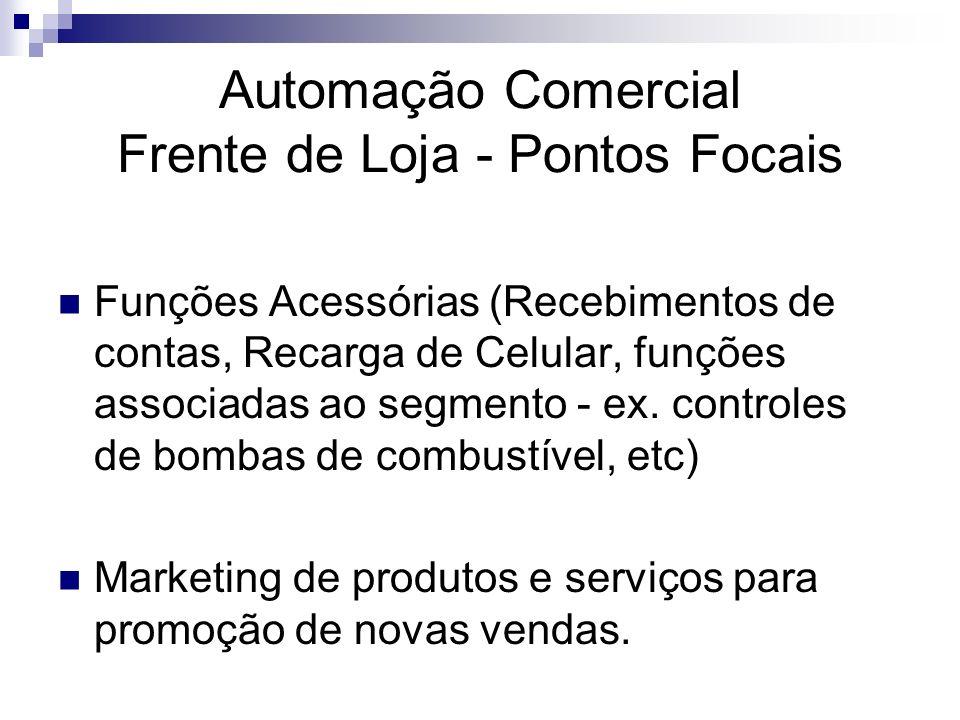Automação Comercial Frente de Loja - Pontos Focais Funções Acessórias (Recebimentos de contas, Recarga de Celular, funções associadas ao segmento - ex