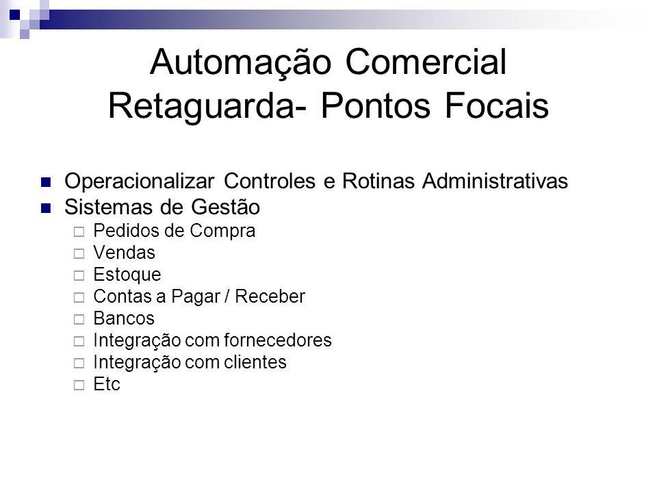 Automação Comercial Retaguarda- Pontos Focais Operacionalizar Controles e Rotinas Administrativas Sistemas de Gestão Pedidos de Compra Vendas Estoque