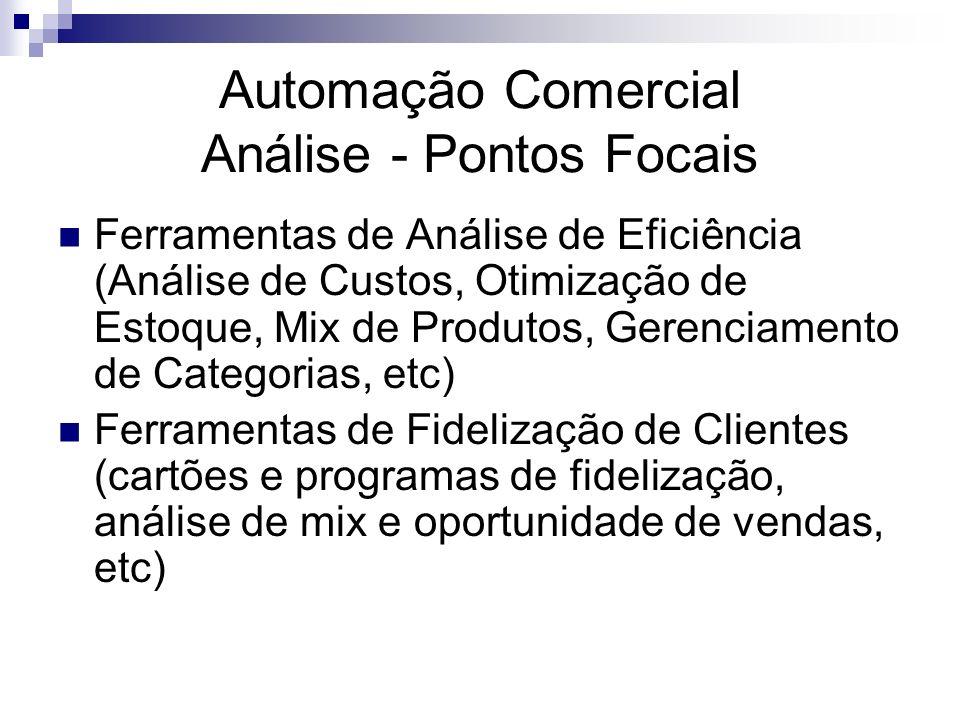 Automação Comercial Análise - Pontos Focais Ferramentas de Análise de Eficiência (Análise de Custos, Otimização de Estoque, Mix de Produtos, Gerenciam