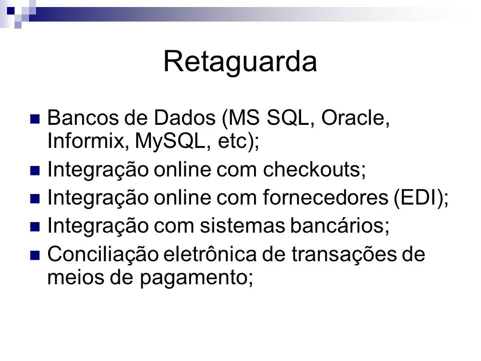 Retaguarda Bancos de Dados (MS SQL, Oracle, Informix, MySQL, etc); Integração online com checkouts; Integração online com fornecedores (EDI); Integraç