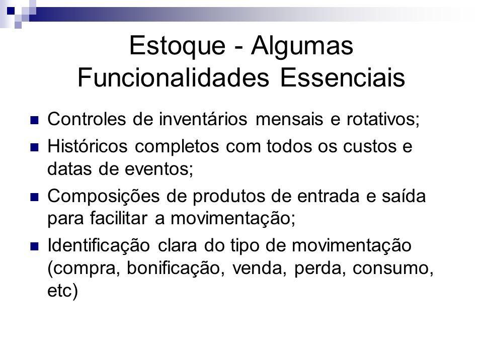 Estoque - Algumas Funcionalidades Essenciais Controles de inventários mensais e rotativos; Históricos completos com todos os custos e datas de eventos