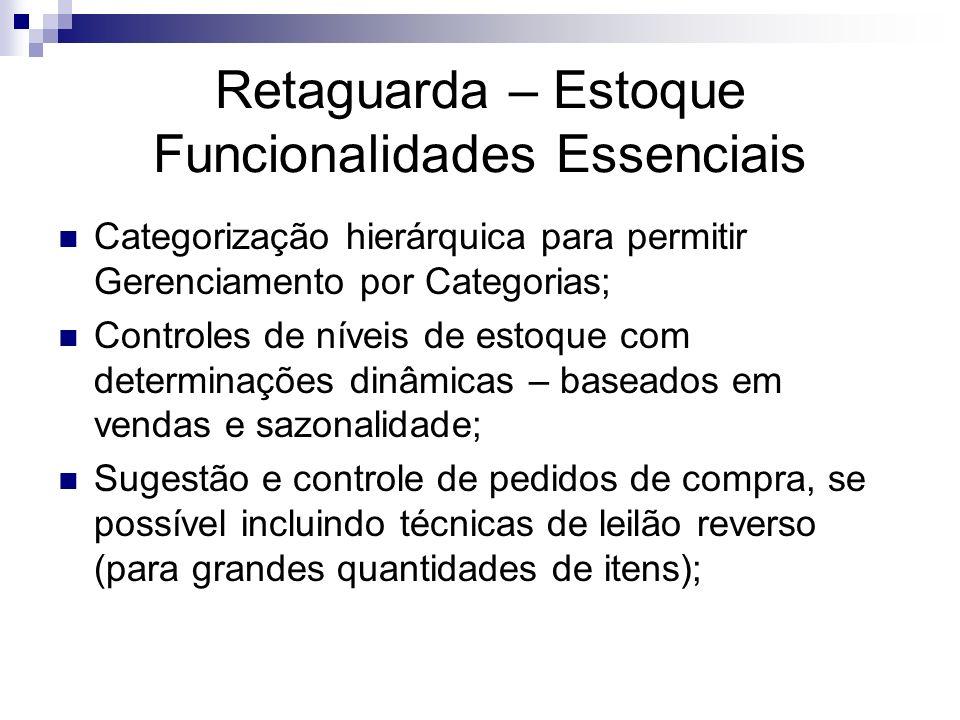 Retaguarda – Estoque Funcionalidades Essenciais Categorização hierárquica para permitir Gerenciamento por Categorias; Controles de níveis de estoque c