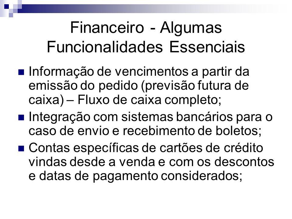 Financeiro - Algumas Funcionalidades Essenciais Informação de vencimentos a partir da emissão do pedido (previsão futura de caixa) – Fluxo de caixa co