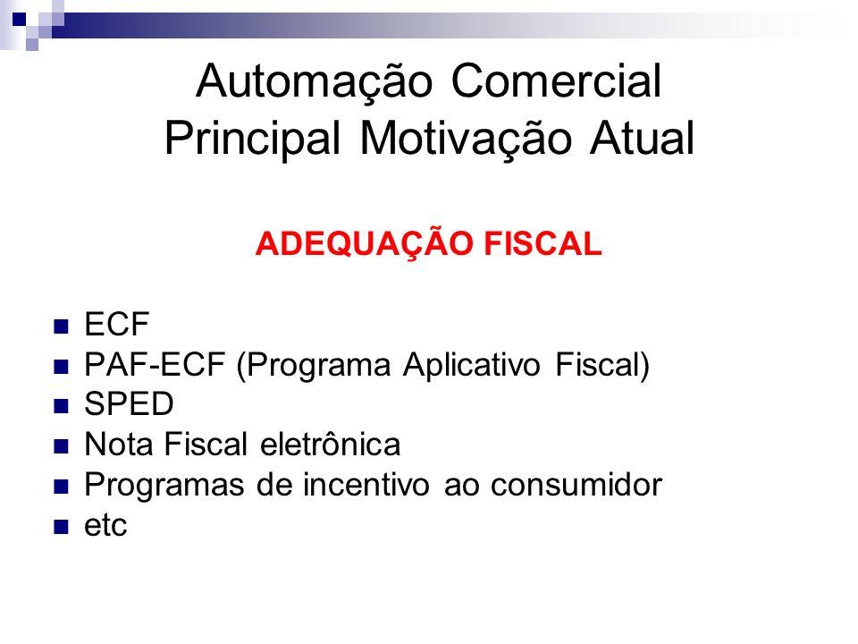 Automação Comercial Principal Motivação Atual ADEQUAÇÃO FISCAL ECF PAF-ECF (Programa Aplicativo Fiscal) SPED Nota Fiscal eletrônica Programas de incen