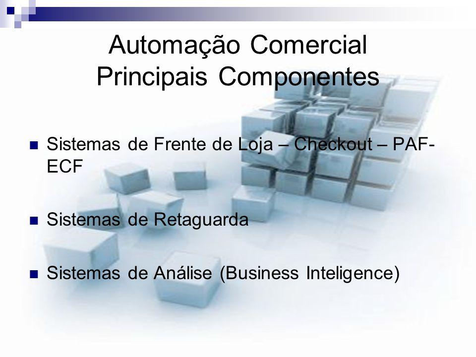 Automação Comercial Principais Componentes Sistemas de Frente de Loja – Checkout – PAF- ECF Sistemas de Retaguarda Sistemas de Análise (Business Intel