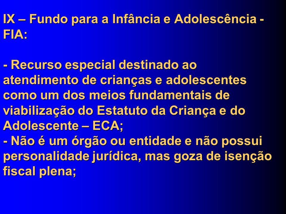 IX – Fundo para a Infância e Adolescência - FIA: - Recurso especial destinado ao atendimento de crianças e adolescentes como um dos meios fundamentais
