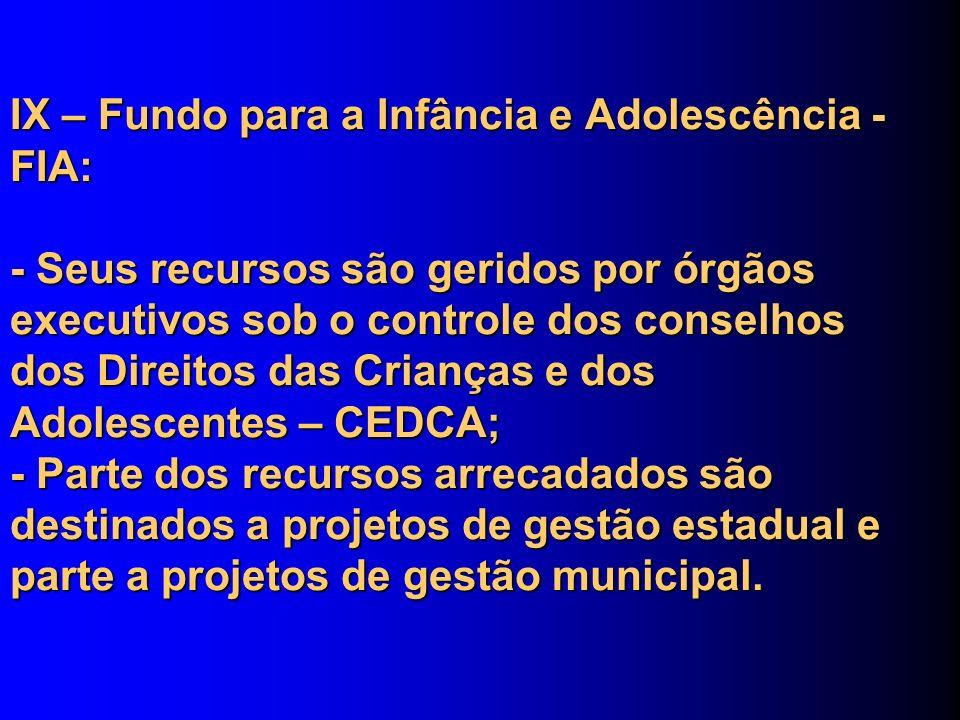 IX – Fundo para a Infância e Adolescência - FIA: - Seus recursos são geridos por órgãos executivos sob o controle dos conselhos dos Direitos das Crian
