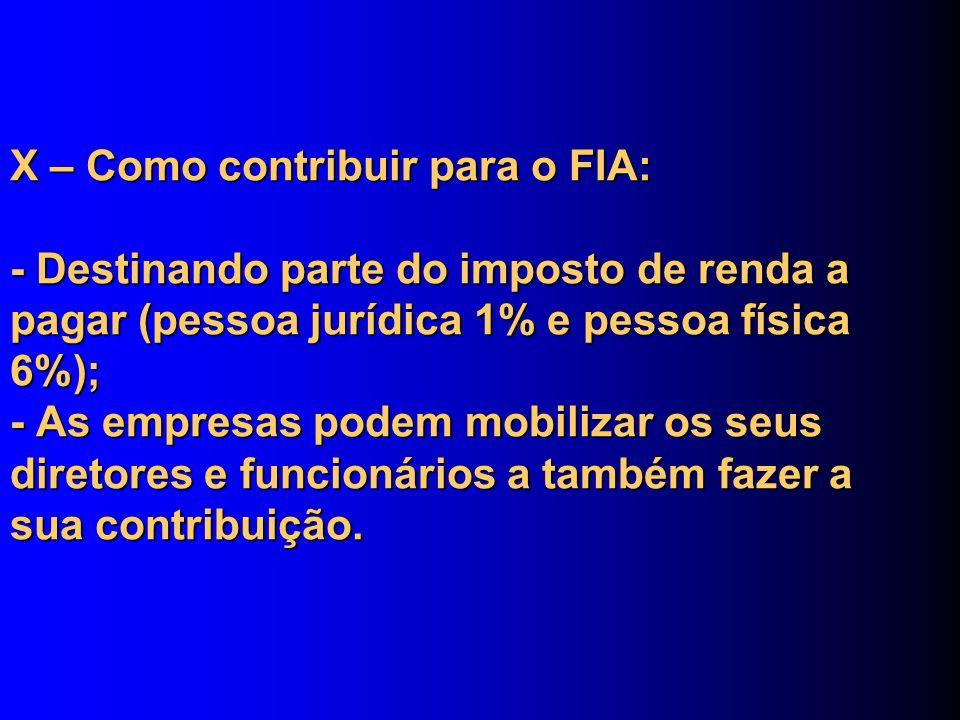 X – Como contribuir para o FIA: - Destinando parte do imposto de renda a pagar (pessoa jurídica 1% e pessoa física 6%); - As empresas podem mobilizar