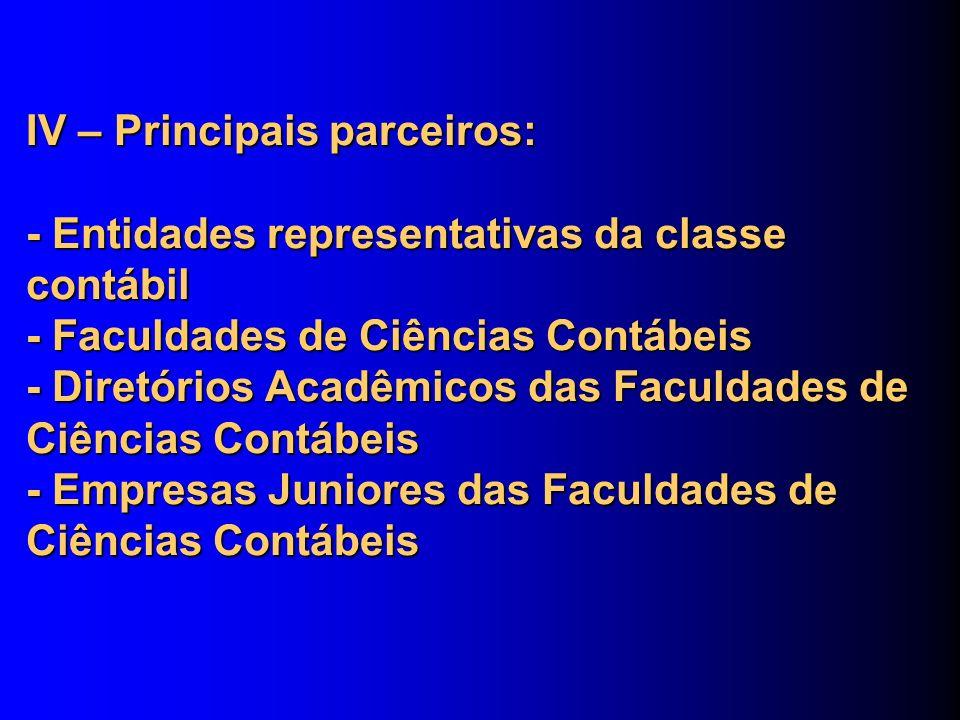 IV – Principais parceiros: - Entidades representativas da classe contábil - Faculdades de Ciências Contábeis - Diretórios Acadêmicos das Faculdades de