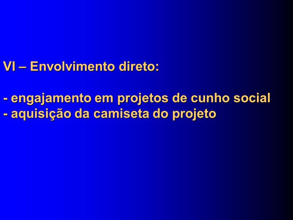 VI – Envolvimento direto: - engajamento em projetos de cunho social - aquisição da camiseta do projeto