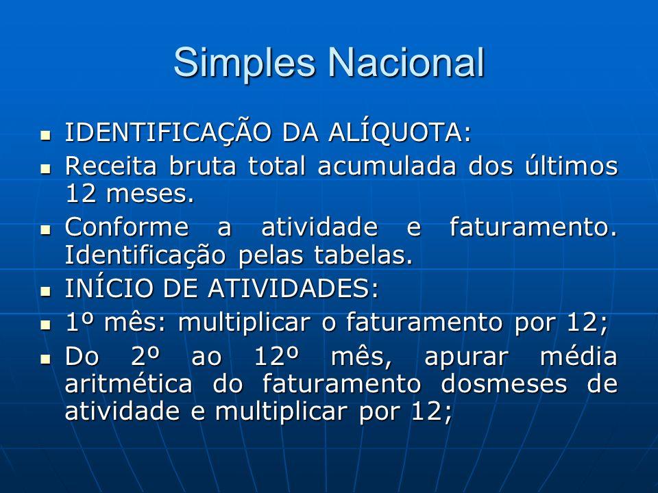 Simples Nacional IDENTIFICAÇÃO DA ALÍQUOTA: IDENTIFICAÇÃO DA ALÍQUOTA: Receita bruta total acumulada dos últimos 12 meses. Receita bruta total acumula