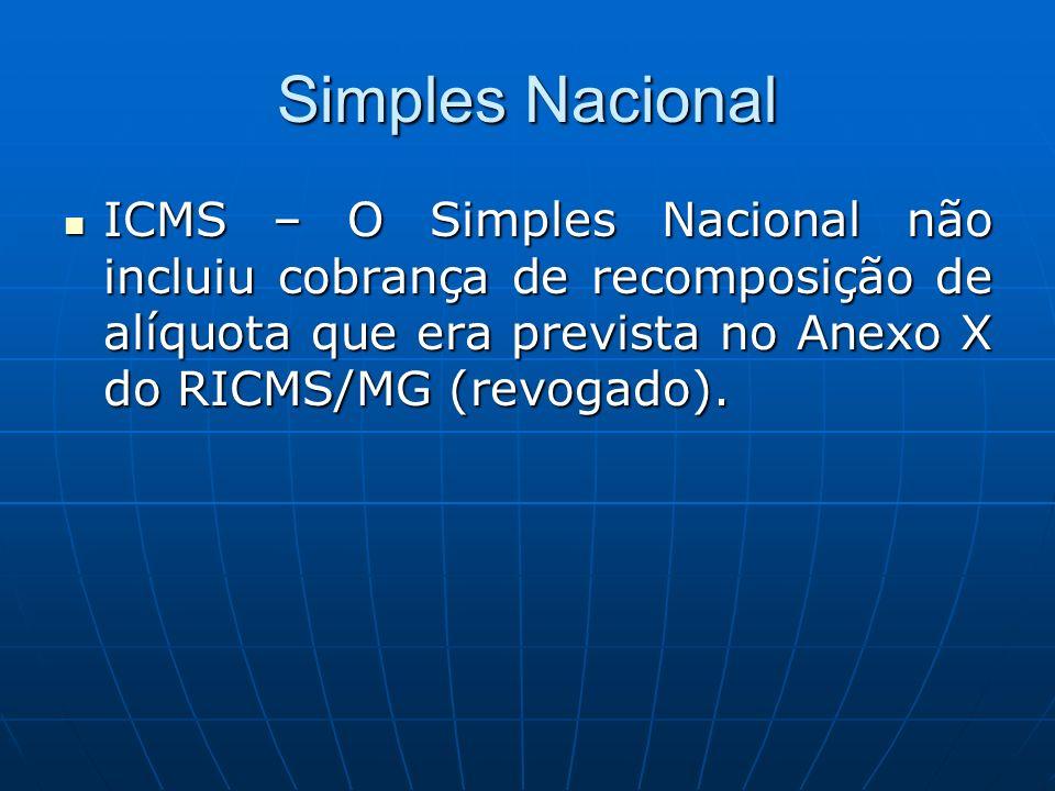 Simples Nacional ICMS – O Simples Nacional não incluiu cobrança de recomposição de alíquota que era prevista no Anexo X do RICMS/MG (revogado). ICMS –