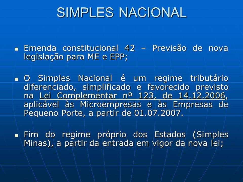 SIMPLES NACIONAL Emenda constitucional 42 – Previsão de nova legislação para ME e EPP; Emenda constitucional 42 – Previsão de nova legislação para ME