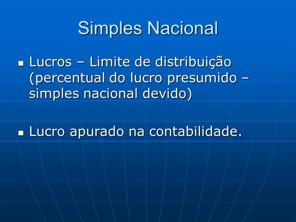Simples Nacional Lucros – Limite de distribuição (percentual do lucro presumido – simples nacional devido) Lucros – Limite de distribuição (percentual