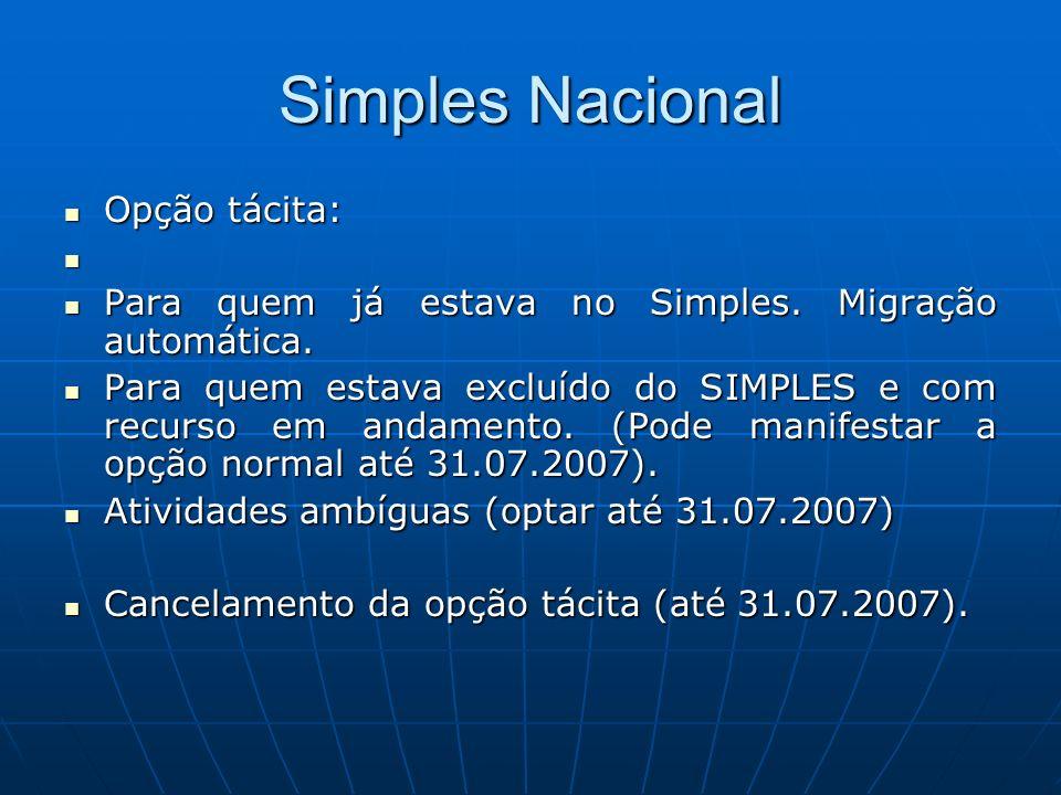 Simples Nacional Opção tácita: Opção tácita: Para quem já estava no Simples. Migração automática. Para quem já estava no Simples. Migração automática.