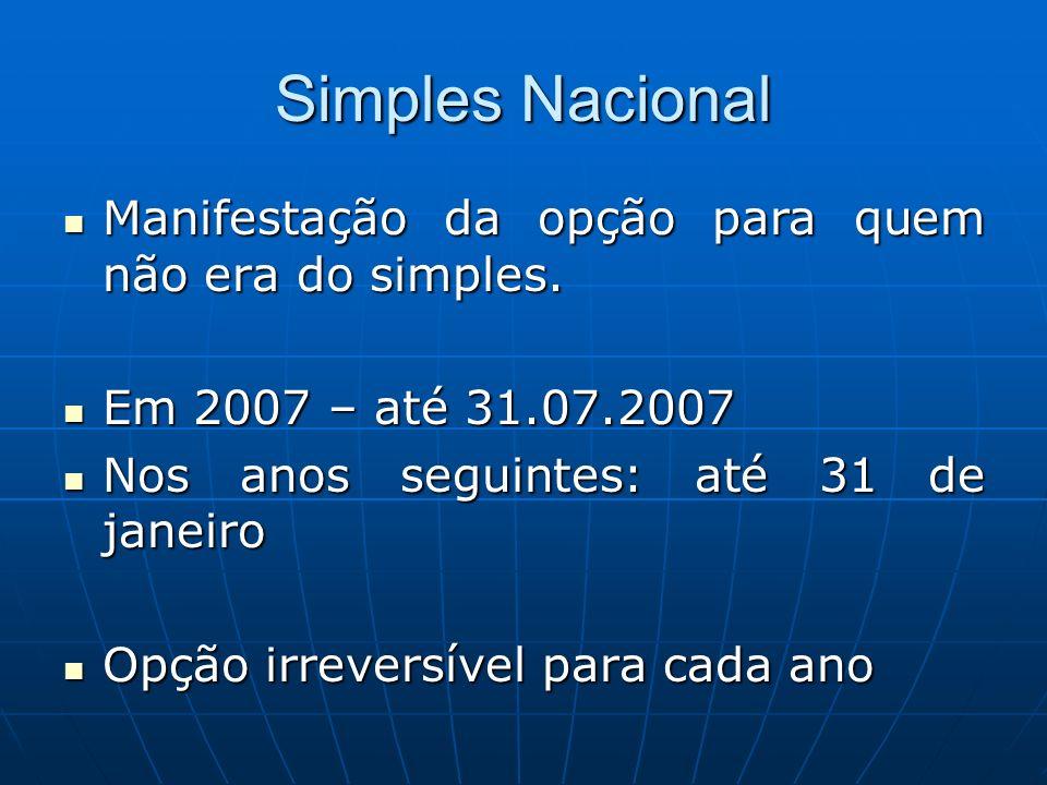 Simples Nacional Manifestação da opção para quem não era do simples. Manifestação da opção para quem não era do simples. Em 2007 – até 31.07.2007 Em 2