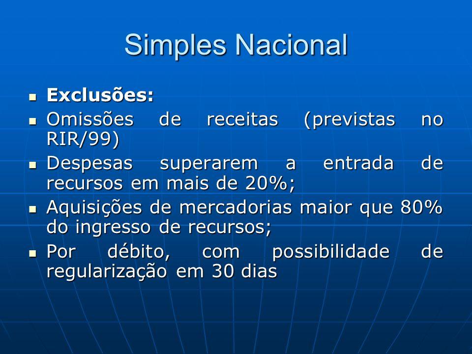 Simples Nacional Exclusões: Exclusões: Omissões de receitas (previstas no RIR/99) Omissões de receitas (previstas no RIR/99) Despesas superarem a entr