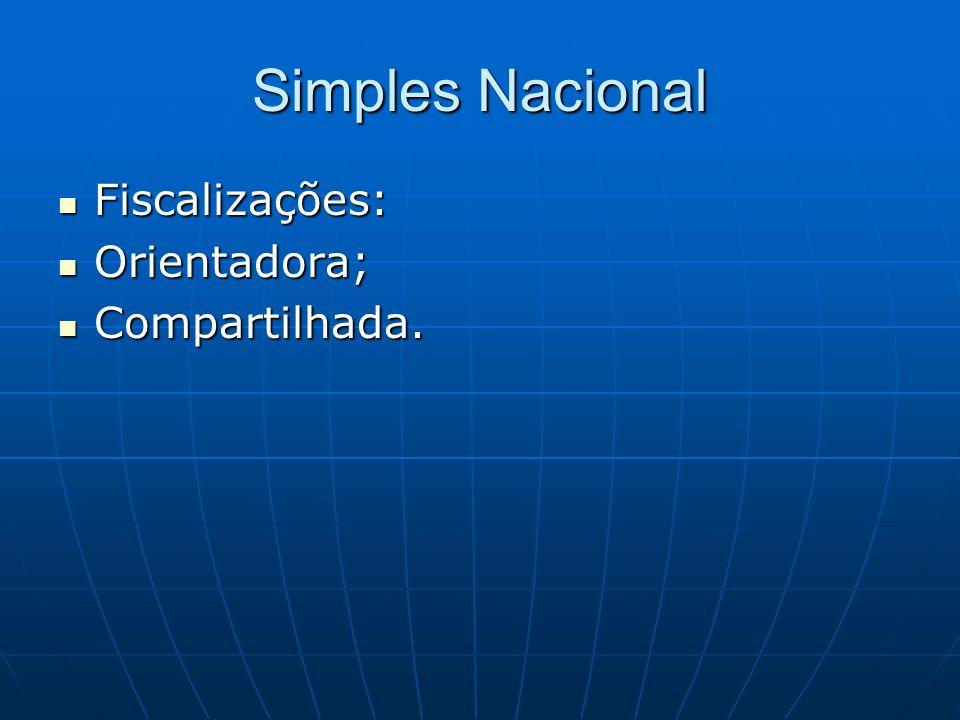 Simples Nacional Fiscalizações: Fiscalizações: Orientadora; Orientadora; Compartilhada. Compartilhada.