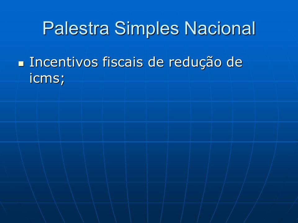 Palestra Simples Nacional Incentivos fiscais de redução de icms; Incentivos fiscais de redução de icms;