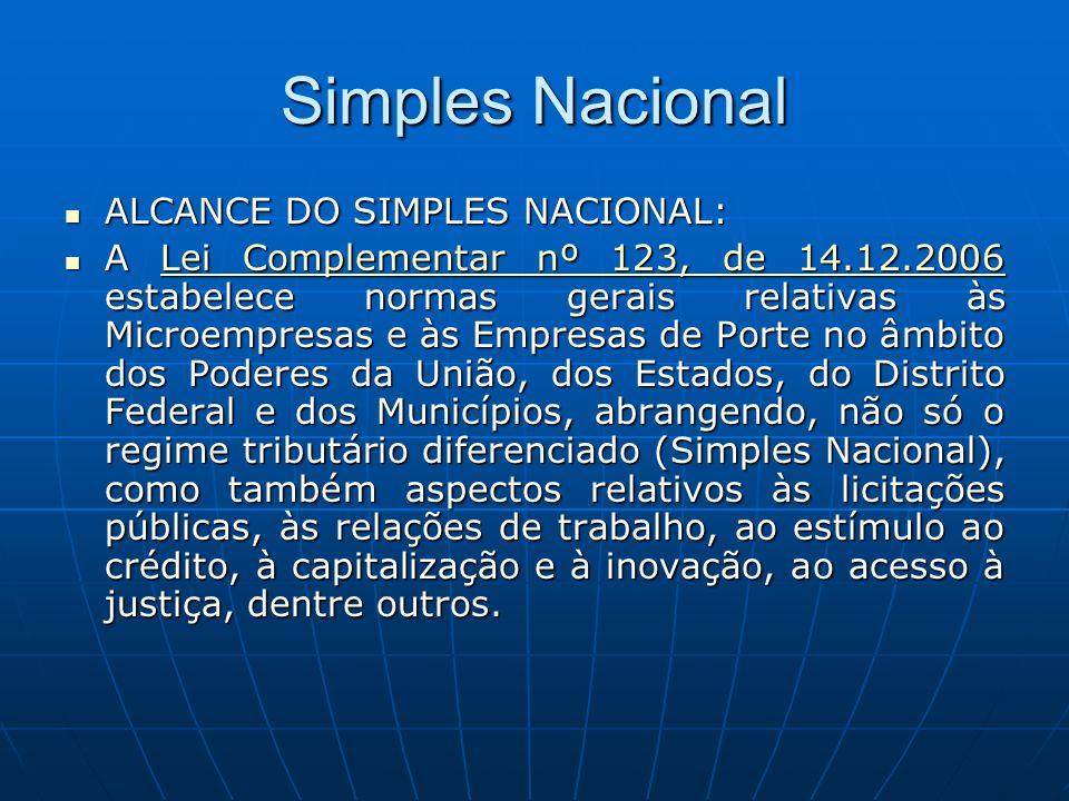 Simples Nacional CARACTERÍSTICAS: CARACTERÍSTICAS: Abrange a participação de todos os entes federados (União, Estados, Distrito Federal e Municípios).