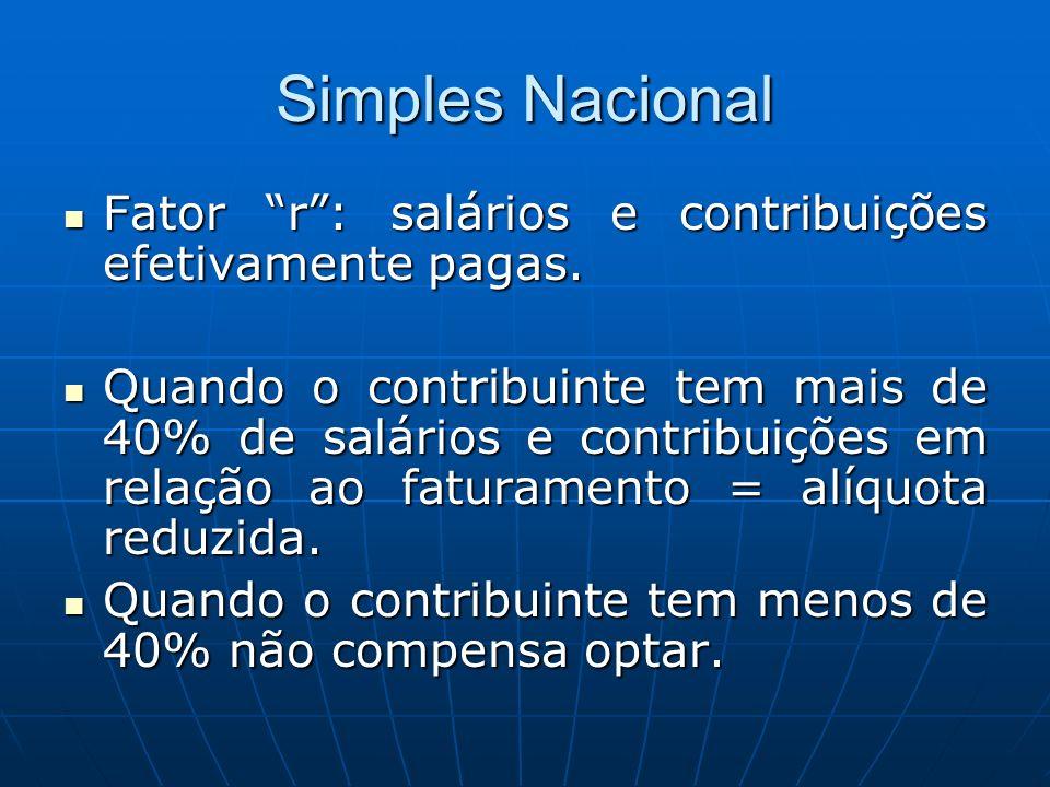 Simples Nacional Fator r: salários e contribuições efetivamente pagas. Fator r: salários e contribuições efetivamente pagas. Quando o contribuinte tem